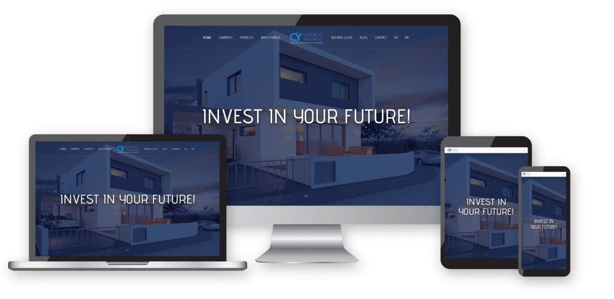 Cy Energy Homes home page in an iMac,Macbook,table and phone